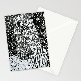 Klimt Gustav, Black&White, Minimalistic art Stationery Cards
