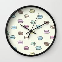 macarons Wall Clocks featuring Macarons by Little Holly Berry