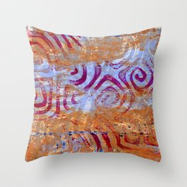 Pink, gold and blue ghost print Throw Pillow