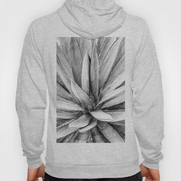 Succulents // Black and White Cactus Plant Leaves Close Up Horizontal Hoody