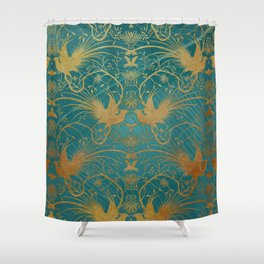 """Turquoise and Gold Paradise Birds"" Shower Curtain"