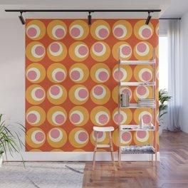 Orange and Pink Retro Circles Wall Mural