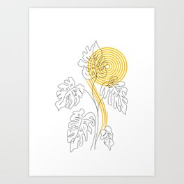 Monstera line Art Art Print