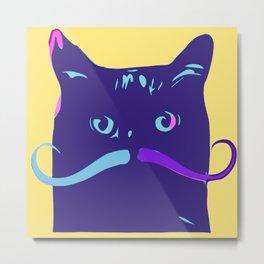 Cool Cat Meowstache  Mustache Cat Metal Print