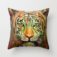 Throw Pillows featuring Tiger by nicebleed