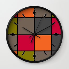 Colorful squares 2 Wall Clock