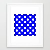 polka dots Framed Art Prints featuring Polka Dots (White/Blue) by 10813 Apparel