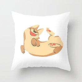 Happy corgi belly Throw Pillow