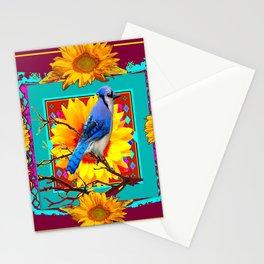Decorative Ornate  Burgundy-Blue Jay Sunflowers Stationery Cards