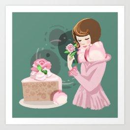 Rose Chiffon Cake Art Print