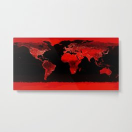 WORLD map : Red Metal Print