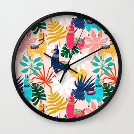 Keep Being Llamazing #illustration #pattern Wall Clock