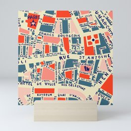 paris map blue Mini Art Print