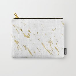 Gold White Marble - Trendy Yellow Gold Marble Carry-All Pouch