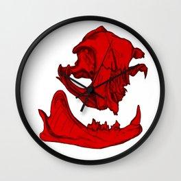 Cat Skull 2 (bright red) Wall Clock