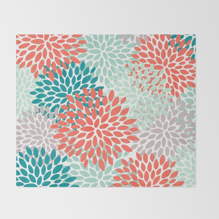 Fl Pattern Living C Teal And Mint Green Throw Blanket By Meganmorrisart