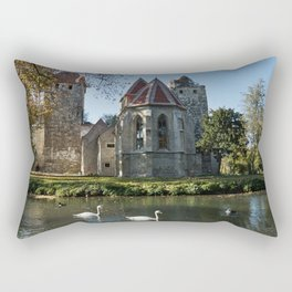 bird Swans Austria Pottendorf, Baden district Autumn Castles Lake Cities swan Birds castle Rectangular Pillow