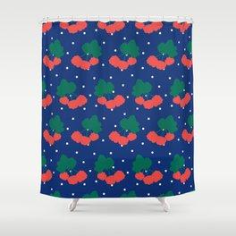 Swedish Cloudberries in Blue + White Polka Dot Shower Curtain