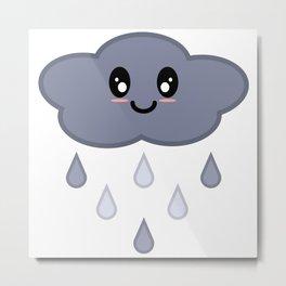 Kawaii Cute Happy Stormy Rain Cloud Metal Print
