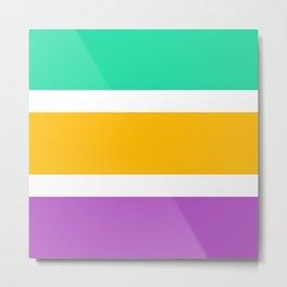 Menthol green, yellow and purple stripes Metal Print