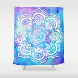 Mandala Pink Lavender Aqua Galaxy Space Shower Curtain