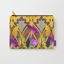 Grey & Yellow Art Nouveau Fuchsia Butterfly Floral Carry-All Pouch