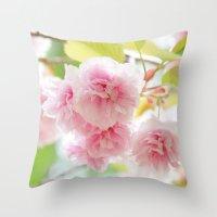 sakura Throw Pillows featuring sakura by yumehana design fine art photography
