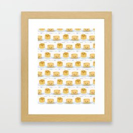 Cute vector blueberry pancake day breakfast illustration Framed Art Print