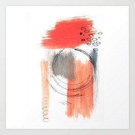 Comfort Zone - A minimalistic india ink and acrylic abstract piece in pink, black, gray, and blue Art Print
