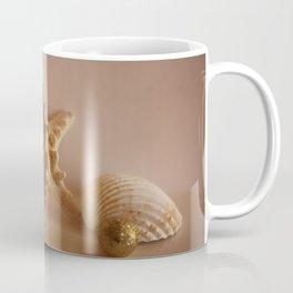 Sea Shells and Sea Star with Golden Christmas Balls Coffee Mug