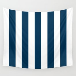 Prussian blue - solid color - white vertical lines pattern Wall Tapestry