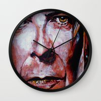 david bowie Wall Clocks featuring Bowie by Ray Stephenson
