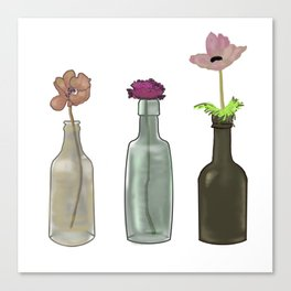 Flowers in Glass Bottles . Pastel Colors Canvas Print