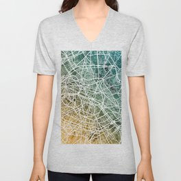 Paris France City Street Map Unisex V-Neck