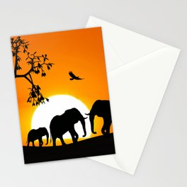 Elephant silhouettes at sunset Stationery Cards