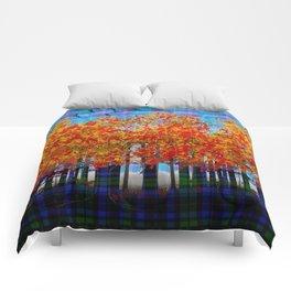 Fall Leaves On Plaid Comforters
