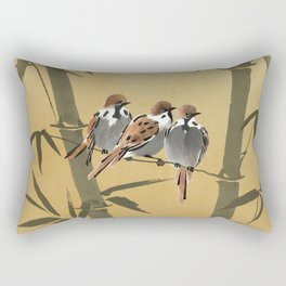 Three Sparrows In Bamboo Tree Rectangular Pillow