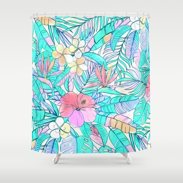 Pretty Pastel Hawaiian Hibiscus Print Shower Curtain By Micklyn