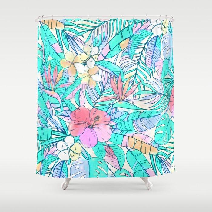 Pretty Pastel Hawaiian Hibiscus Print Shower Curtain by micklyn ...