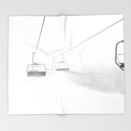 4 Seat Chair Lift Deep Snow B&W Throw Blanket