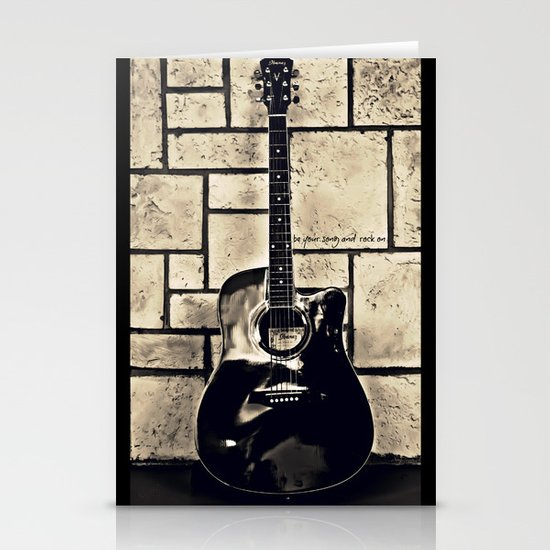 Be Your Song and Rock On in Black Stationery Cards