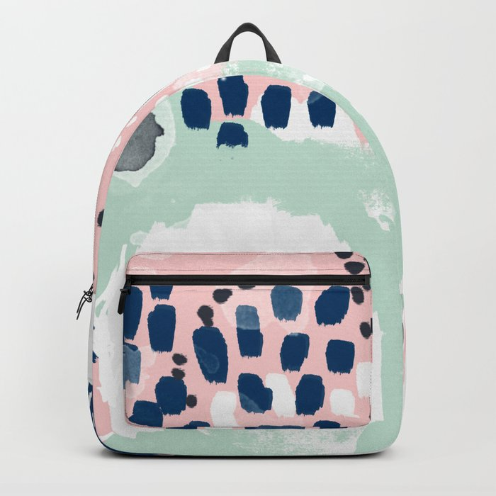 Ostara - minimal abstract painting trendy navy mint and pink pastels acrylic large minimalist Backpack