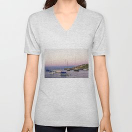 Earth's shadow over the harbor Unisex V-Neck