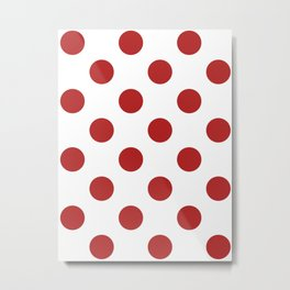 Large Polka Dots - Firebrick Red on White Metal Print