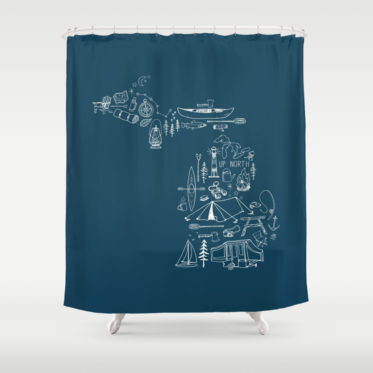 Up North Navy Collage Shower Curtain