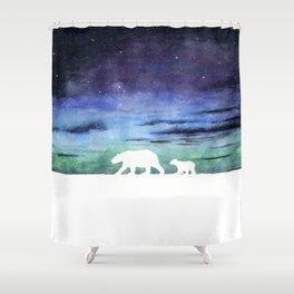 Aurora borealis and polar bears (white version) Shower Curtain