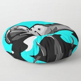 Manatee Love in blue Floor Pillow