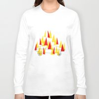skateboard Long Sleeve T-shirts featuring Flaming Skateboard by marcusmelton