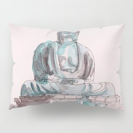Peace and Harmony watercolor buddha pastel illustration Pillow Sham