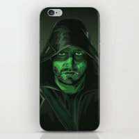 green arrow iPhone & iPod Skins featuring Arrow by Digital Sketch